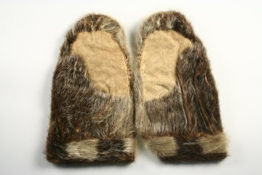 204: Inuit Items Halibut Hook c1850 Sealskin Mittens - 7