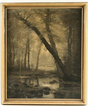 236: OOC Painting Dark Forest William Bliss Baker NY