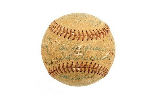 503: Autographed Baseball Ted Williams Boudreau Evers