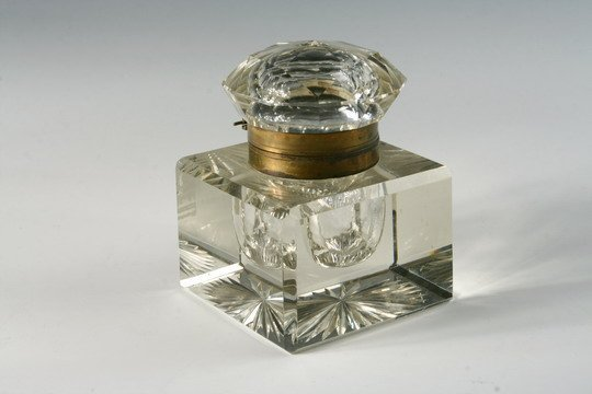 504: c1880-90 Cut Crystal Inkwell Paperweight Brass