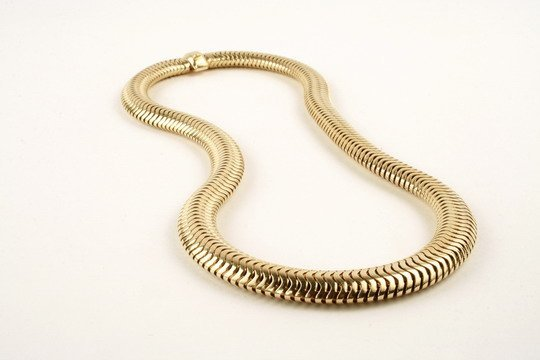 517: 14K Gold Snake Chain Necklace Flexible Links