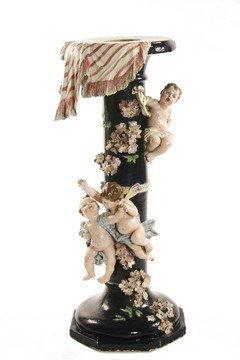 520: 19th C Italian Ceramic Pedestal Floral & Cherubs