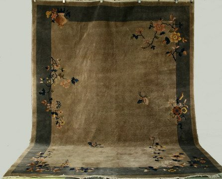 """521: 8'10"""" x 11'10"""" Chinese Deco Carpet Taupe Field"""