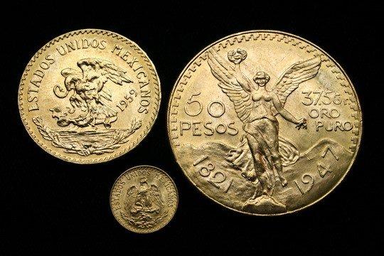 709: 3 Mexican Gold Coins 50 Pesos 20 Pesos 2 Pesos