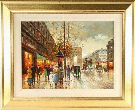 828: OOC Painting Paris Street Scene Milan Miletic
