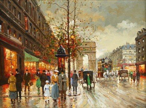 828: OOC Painting Paris Street Scene Milan Miletic - 2