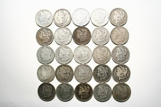 849: 25 Morgan Silver Dollar Coins Asst Dates