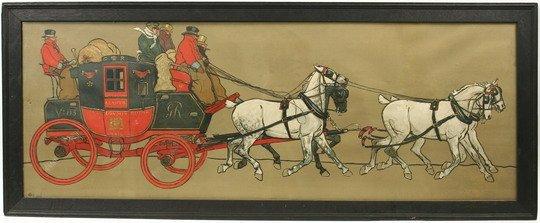 999: Stencil Print Royal Mail Coach C Laloin c1900