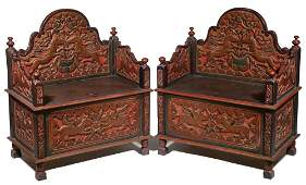 PR OF INDONESIAN CARVED AND PAINTED CHAIRS