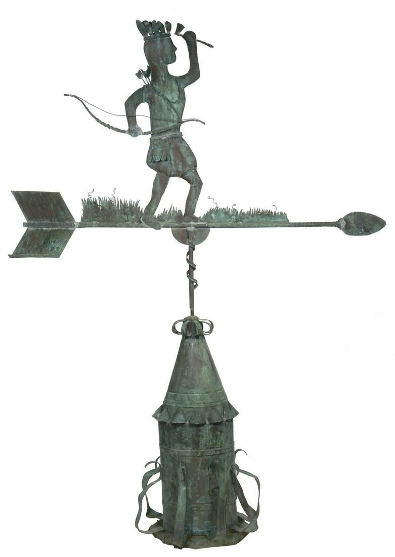 TWO-PART LARGE COPPER INDIAN WEATHERVANE