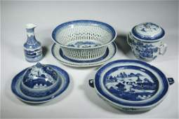 5 CHINESE CANTON PORCELAIN SERVING ITEMS