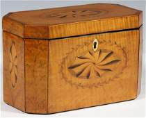 SATINWOOD TEA CADDY WITH PATERA INLAY