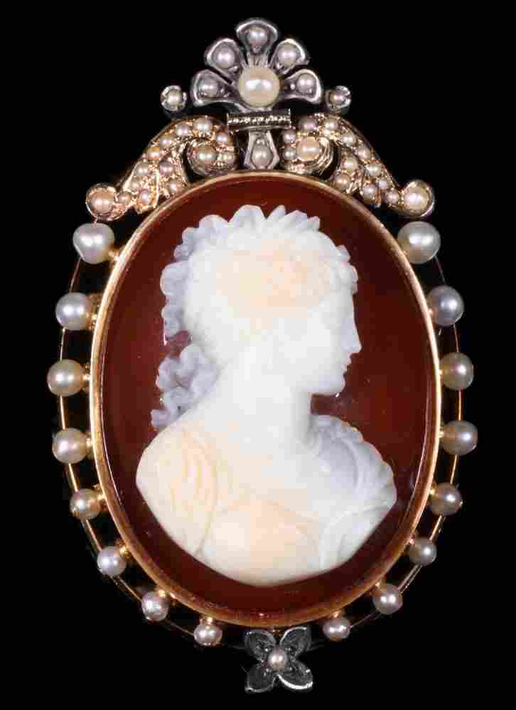 CAMEO BROOCH/PENDANT IN 14K GOLD