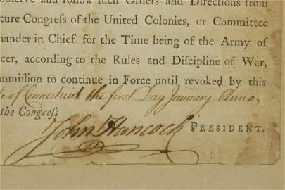 JOHN HANCOCK SIGNED 1777 APPOINTMENT OF AN OFFICER TO