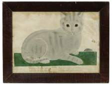 MID 19TH C. NEW ENGLAND SCHOOLGIRL THEOREM OF A CAT