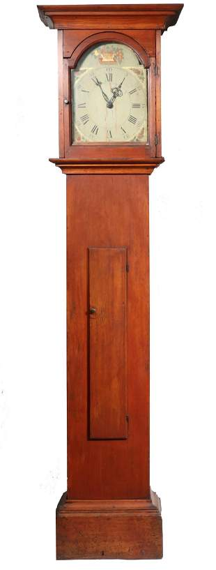 COUNTRY WOODEN WORKS TALL CASE CLOCK