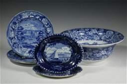 (6 PCS) HISTORICAL BLUE STAFFORDSHIRE CHINA