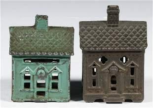 (2) CAST IRON HOUSE FORM STILL BANKS