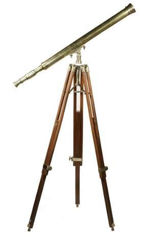 19TH C. ENGLISH BRASS TELESCOPE ON TRIPOD BASE, SIGNED