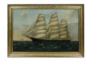 UNSIGNED ANTEBELLUM AMERICAN CLIPPER SHIP PORTRAIT