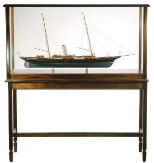 CASED SHIP MODEL OF J.P. MORGAN JR'S YACHT, ON FLOOR