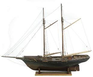 19TH C. SAILOR MADE BOAT MODEL OF A TWO-MAST COASTAL