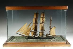 STEAM-SAIL SHIP MODEL BY B.S. CRANDALL, NEW LONDON, CT