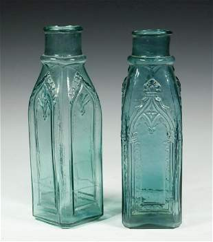 (2) BLOWN MOLDED CATHEDRAL / GOTHIC PICKLE JARS