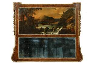 TRUMEAU MIRROR WITH PASTORAL PAINTING