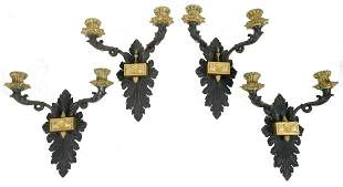 (4) FRENCH BRONZE CANDLE SCONCES