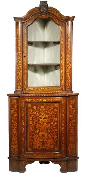 TWO-PART DUTCH MARQUETRY CUPBOARD