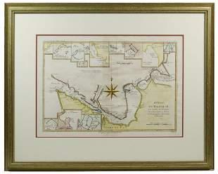 "EARLY HAND COLORED MAP ""DETROIT DE MAGELLAN"", 1780,"