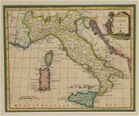 EARLY HAND COLORED MAP OF ITALY BY THOMAS KITCHIN LATE