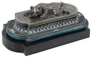 RUSSIAN ENAMELED SILVER INKWELL