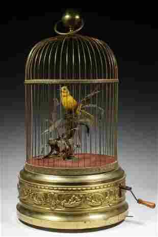 FRENCH DOUBLE SINGING BIRDCAGE AUTOMATON