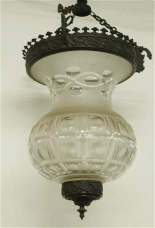 LATE FEDERAL PERIOD DEEP CUT GLASS CANDLE CEILING LAMP,