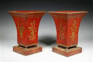 PR FRENCH NEOCLASSICAL TOLE PAINTED VASES