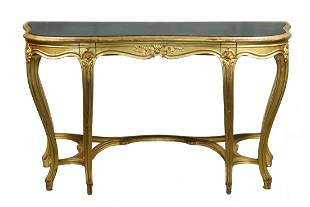 FRENCH GILT FRAME MIRROR TOP CONSOLE TABLE