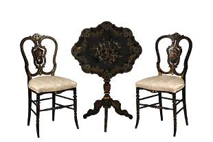 PR OF MOTHER-OF-PEARL INLAID CHAIRS WITH SIMILAR TILT