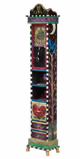 CONTEMPORARY FOLK ART GRANDFATHER CLOCK BY STICKS, 2000