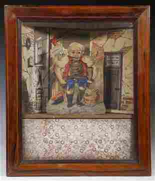 FRENCH PAPER LITHO CLOCK WORK AUTOMATON OF A SHOEMAKER