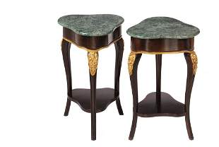 PR OF MARBLE TOP TRICORNER STANDS