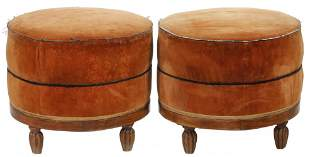 PR OF FRENCH DECO OTTOMANS
