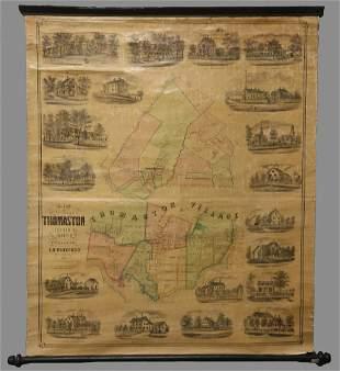 RARE PRE-CIVIL WAR THOMASTON, MAINE SCHOOLROOM MAP