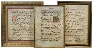 (3) FRAMED 15TH - 16TH C. VELLUM MUSICAL MANUSCRIPT