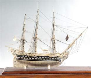 EARLY 19TH C. FRENCH PRISONER-OF-WAR SHIP MODEL OF A