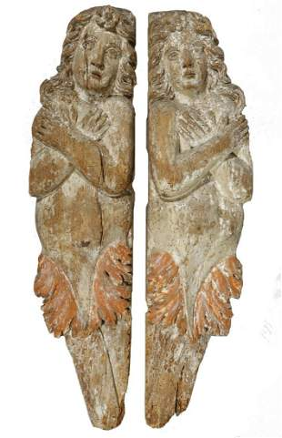 PR OF 17TH-18TH C. CARVED WOOD SHIP GANGPLANK BOARDS