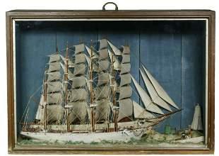 19TH C. DOUBLE SHIP DIORAMA