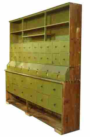 RARE TWO-PART COUNTRY STORE CABINET IN GREEN PAINT