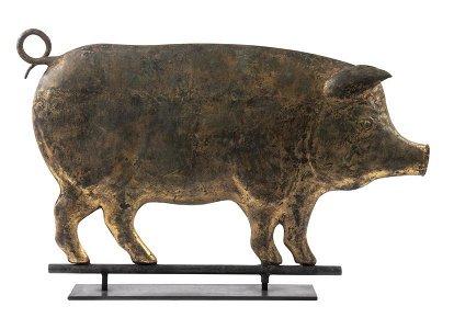 19TH C. FOLK ART PIG FORM WEATHERVANE